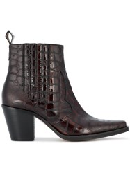Ganni Pointed Croc Cowboy Boot Leather Patent Leather Rubber Brown