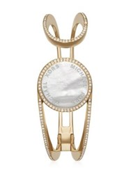 Michael Kors Access Crystal Mother Of Pearl And Goldtone Stainless Steel Activity Tracker Bangle