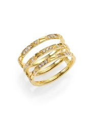 Ron Hami Bar Diamond And 18K Yellow Gold Engraved Lines Three Row Ring