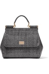 Dolce And Gabbana Printed Glossed Leather Tote Gray
