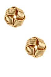 10K Yellow Gold 6 Row Love Knot Stud Earrings