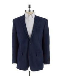 Sean John Two Button Pinstriped Blazer Blue