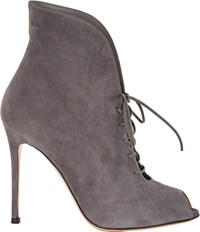 Gianvito Rossi Suede Jane Ankle Booties Grey