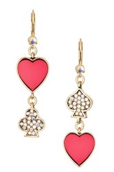 Betsey Johnson Pink And Crystal Heart Dangle Earrings