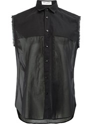 Saint Laurent Sheer Panel Sleeveless Shirt Black