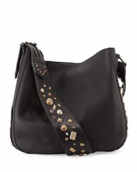 Ralph Lauren Studded Leather Crossbody Hobo Bag Black