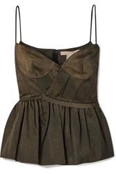 Brock Collection Matte Satin Peplum Bustier Top Army Green