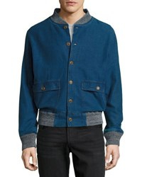 Faherty Denim Slub Bomber Jacket Indigo