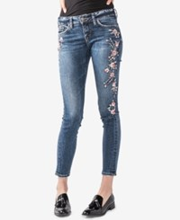 Silver Jeans Co. Juniors' Elyse Curvy Fit Embroidered Skinny Indigo