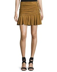 Veronica Beard Weston Ruched Leather Mini Skirt Tan
