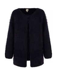 Yumi Fluffy Long Cardigan Navy