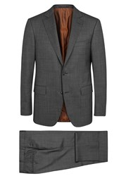 Pal Zileri Charcoal Checked Stretch Wool Suit Grey