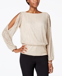 Msk Metallic Cold Shoulder Blouse Taupe Silver Gold