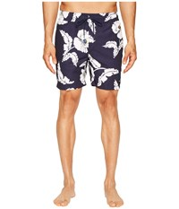 Jack Spade Poppy Flower Swim Trunks Navy Men's Swimwear