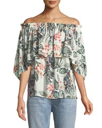 Parker Smith Palm Print Off The Shoulder Blouse Ivory Multi