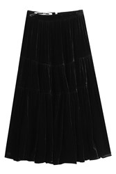 Mcq By Alexander Mcqueen Velvet Midi Skirt With Silk Black