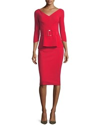 La Petite Robe Di Chiara Boni Viorika Belted Peplum Cocktail Sheath Dress Red