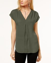 Inc International Concepts Inverted Pleat V Neck Top Created For Macy's Olive