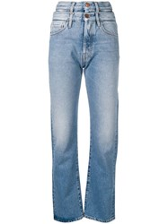 Aries Double High Waisted Straight Jeans Blue