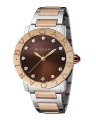 Bulgari Bvlgari Bvlgari Diamond 18K Rose Gold And Stainless Steel Bracelet Watch