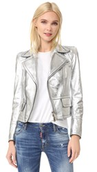 Dsquared Leather Jacket Silver