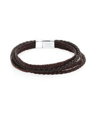 Tateossian Wrap Around Sterling Silver And Leather Bracelet Brown