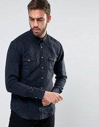 Boss Orange By Hugo Slim Fit Faux Suede Shirt Black