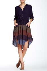 Free People Ray Of Light Button Front Dress Purple