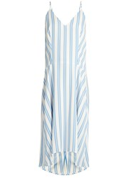 Balenciaga Striped Cady Slip Dress Blue Stripe