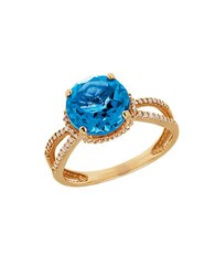Lord And Taylor Blue Topaz Diamond 14K Yellow Gold Ring Blue Gold
