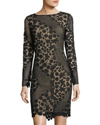 Tahari By Arthur S. Levine Long Sleeve Lace Sheath Dress Black
