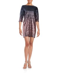 Maia Sequined Ombre Shift Dress Pink Navy