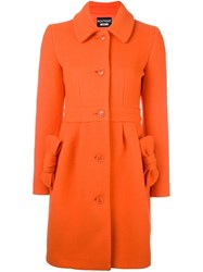 Boutique Moschino Bow Detail Coat Yellow And Orange