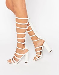 Asos Hotfoot Heeled Sandals White