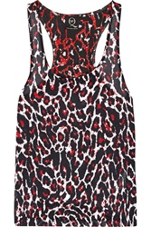 Mcq By Alexander Mcqueen Leopard Print Silk And Jersey Top Red
