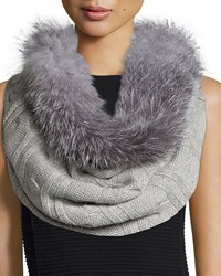Sofia Cashmere Fur Trim Cashmere Cable Knit Snood Gray