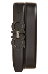 Salvatore Ferragamo Men's Double Gancio Calfskin Leather Belt Nero