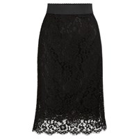 Dolce And Gabbana Lace Pencil Skirt Black