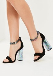 Missguided Black Chunky Chain Ankle Strap Block Heeled Sandals
