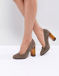 Selected Suede Shoe With Chunky Heel Green