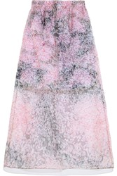 Carven Printed Silk Organza And Cotton Midi Skirt Purple