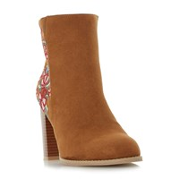 Head Over Heels Paradisea Embroidery Heeled Ankle Boots Tan