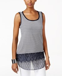 Styleandco. Style And Co. Sleeveless Mixed Media Top Only At Macy's Diamond Ikat