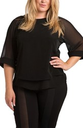 Standards And Practices Plus Size Women's Milla Sheer Skimmer Top