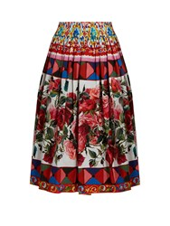 Dolce And Gabbana Carretto Print Cotton Midi Skirt Pink Multi