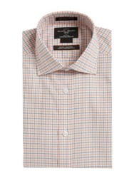 Black Brown Plaid Cotton Short Sleeve Dress Shirt Orange