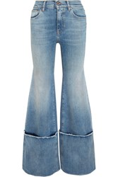 Off White Frayed Mid Rise Wide Leg Jeans Mid Denim