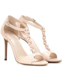 Altuzarra Wilder T Strap Leather Sandals Pink