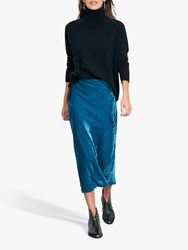 Hush Bias Cut Velvet Midi Skirt Blue