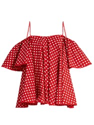 Anna October Off The Shoulder Polka Dot Top Red White